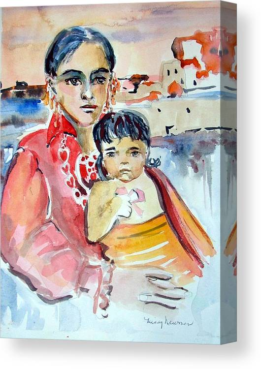 Indian Canvas Print featuring the painting Mother and Child by Mindy Newman