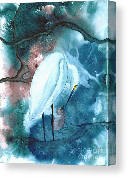 A Mother Egret With Her Chick- A Watercolor Painting Canvas Print featuring the painting Mother And Child by Mui-Joo Wee