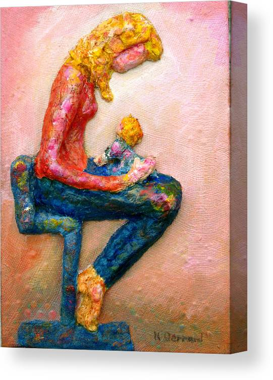 Mother And Child Canvas Print featuring the painting Mother Bonding I by Naomi Gerrard