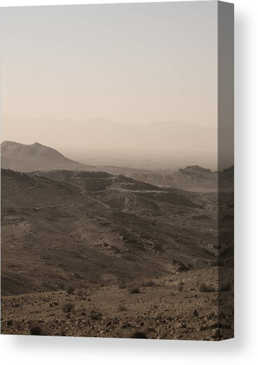 Mountain View Canvas Print featuring the photograph Mountain View of Mohave Desert in Sepia by Colleen Cornelius