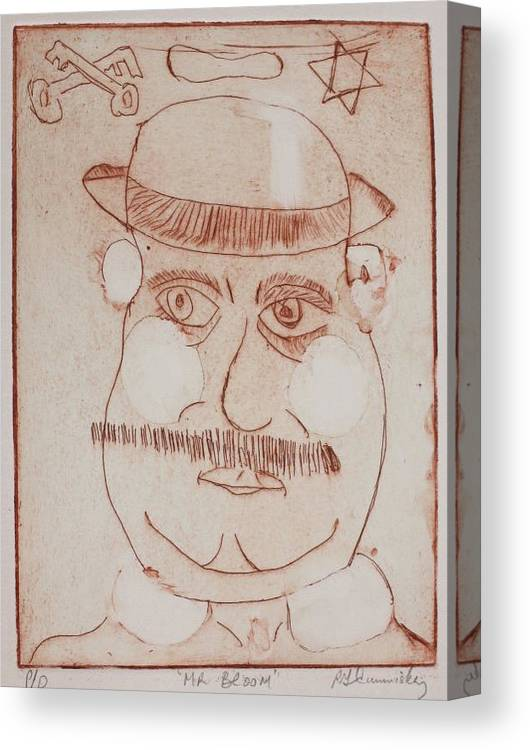 Etching Canvas Print featuring the drawing Mr Bloom Greeting Card by Roger Cummiskey