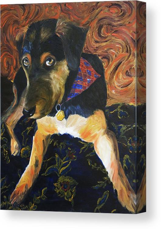 Dog Canvas Print featuring the painting Murphy I by Nik Helbig