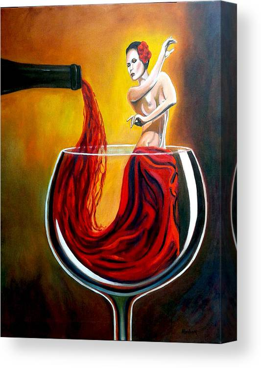 Wine Canvas Print featuring the painting My Wine Lady by Jose Manuel Abraham