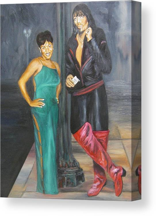 Portraits Canvas Print featuring the painting Mz Thang and Rick James by Angelo Thomas