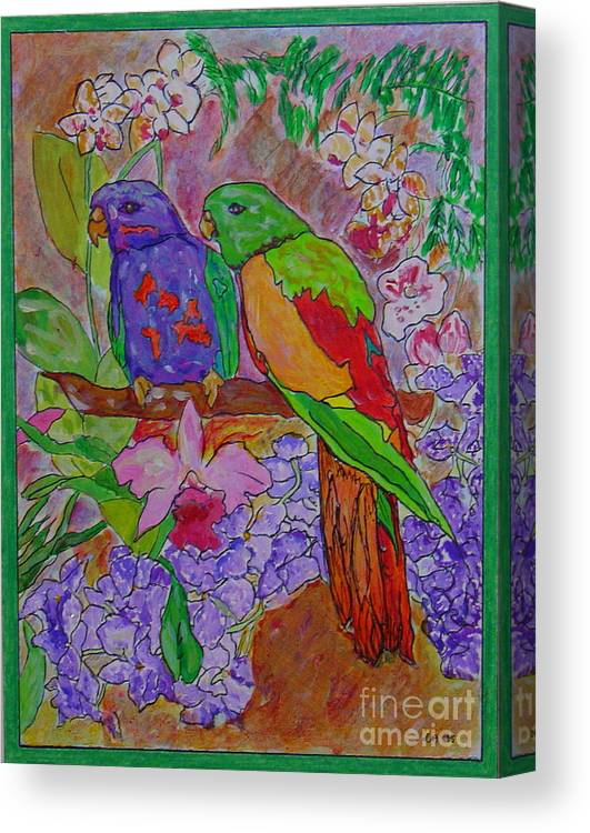 Tropical Pair Birds Parrots Original Illustration Leilaatkinson Canvas Print featuring the painting Nesting by Leila Atkinson