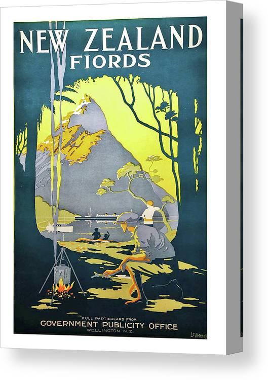 "Vintage Illustrated Travel Poster CANVAS PRINT Haere Mai New Zealand  8/""X 12/"""