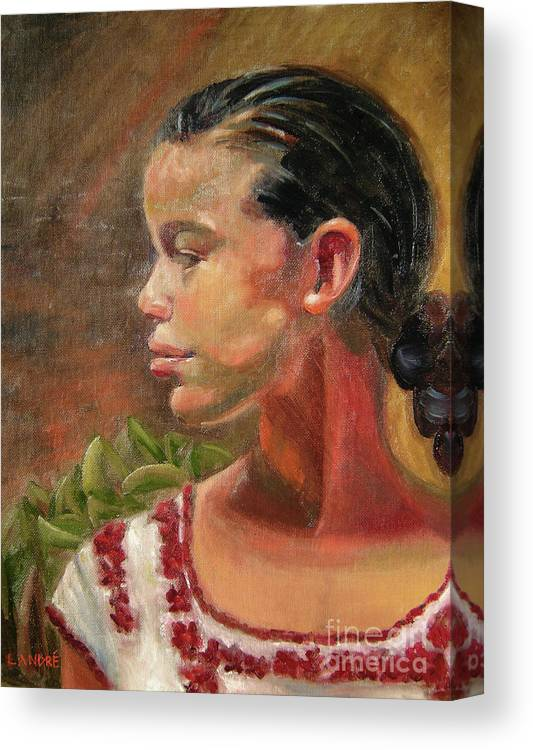 Mexico Canvas Print featuring the painting Nina de Trenza by Lilibeth Andre
