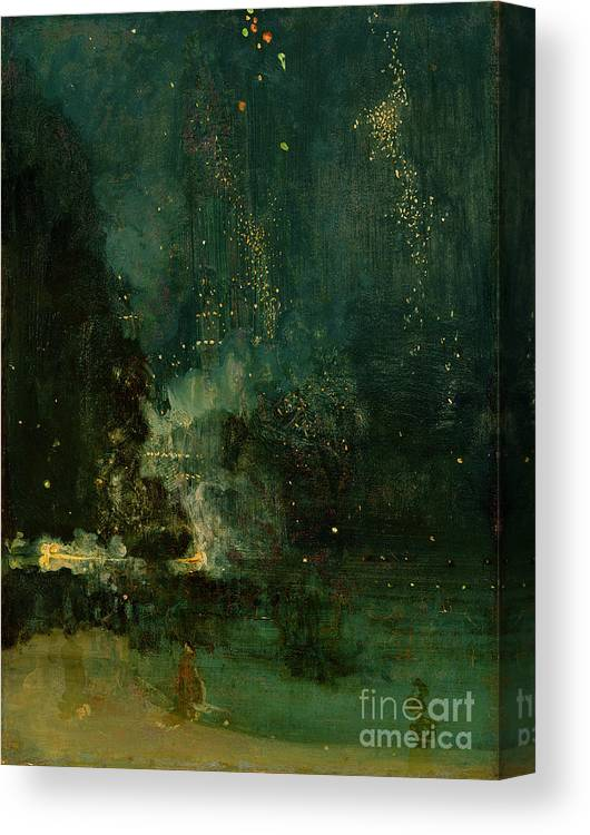 Nocturne Canvas Print featuring the painting Nocturne In Black And Gold - The Falling Rocket by James Abbott McNeill Whistler