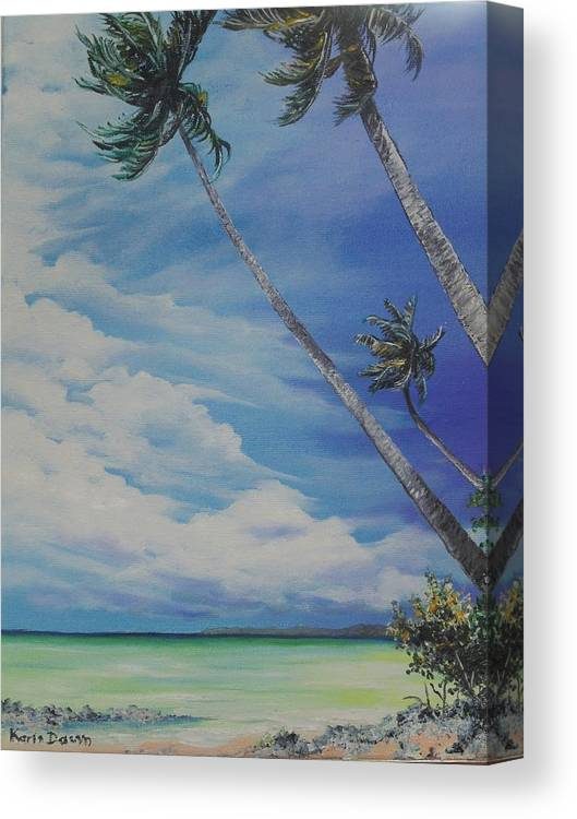 Trinidad And Tobago Seascape Canvas Print featuring the painting Nylon Pool Tobago. by Karin Dawn Kelshall- Best