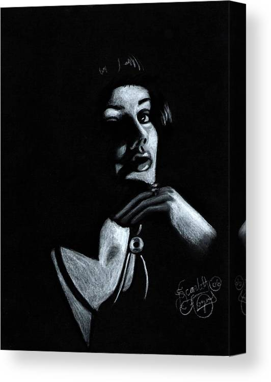 Portrait Canvas Print featuring the drawing Persuasion by Scarlett Royal