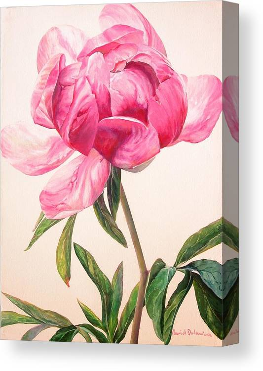 Floral Painting Canvas Print featuring the painting Pivoine 1 by Muriel Dolemieux