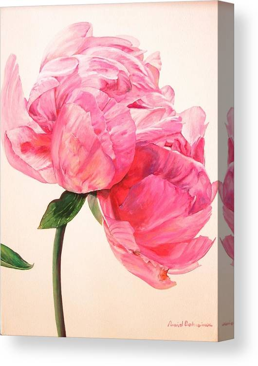 Floral Painting Canvas Print featuring the painting Pivoine 3 by Muriel Dolemieux