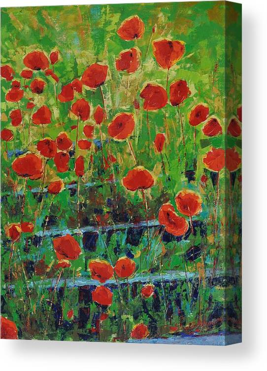 Poppies Canvas Print featuring the painting Poppies And Traverses 1 by Iliyan Bozhanov
