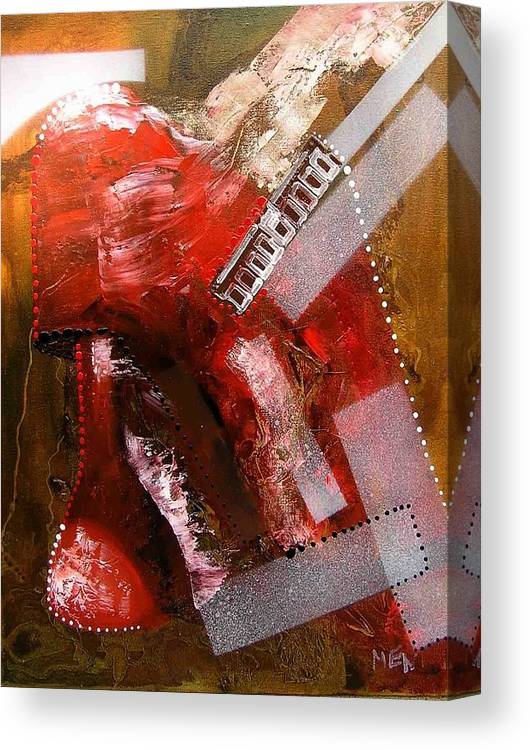 Lamp Canvas Print featuring the painting Red Lamp Transformation by Evguenia Men