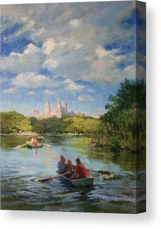 Urban Landscape Paintings Canvas Print featuring the painting Rowing On The Lake, Central Park by Peter Salwen