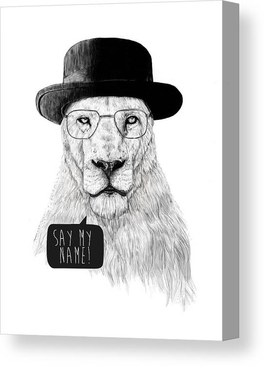 Lion Canvas Print featuring the mixed media Say my name by Balazs Solti
