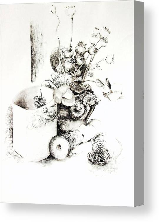 Still Life Canvas Print featuring the drawing Sec by Muriel Dolemieux