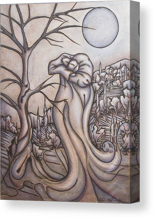 Dream. Moon Canvas Print featuring the painting Secrets and Dreams by Judy Henninger