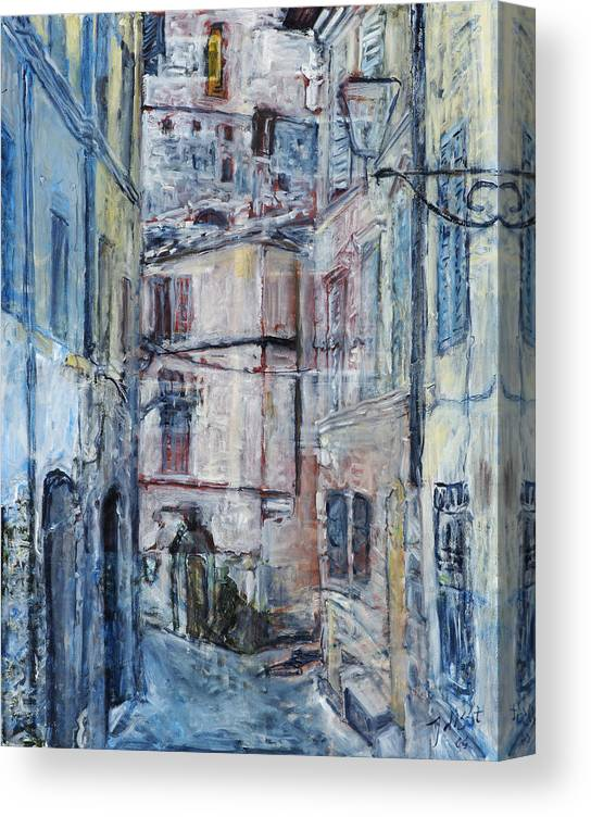 City Italy Street Buildings Blue Red Siena Canvas Print featuring the painting SienaWalls by Joan De Bot