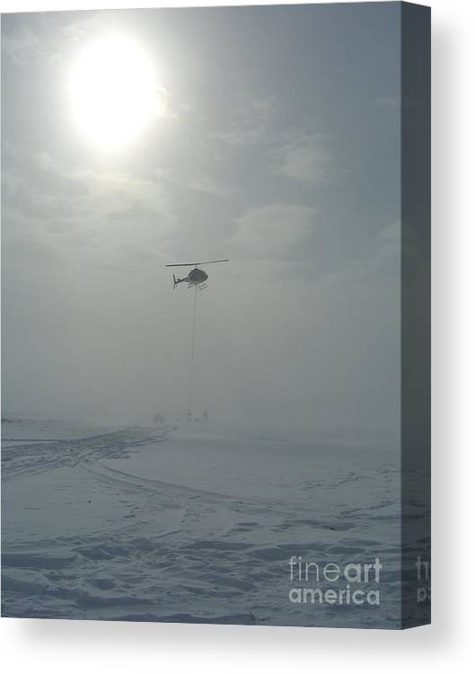 Helicopter Canvas Print featuring the photograph Snow Heli -25deg by Jim Thomson