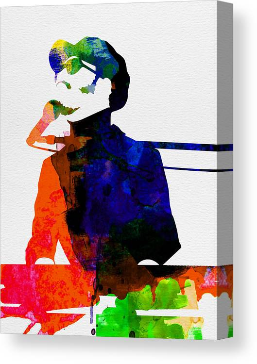 Stevie Wonder Canvas Print featuring the painting Stevie Watercolor by Naxart Studio