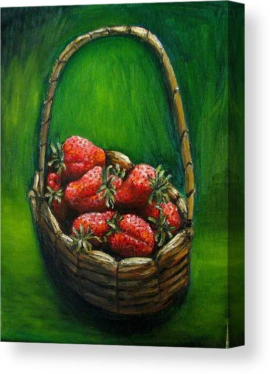 Strawberries Canvas Print featuring the painting Strawberries contemporary oil painting by Natalja Picugina