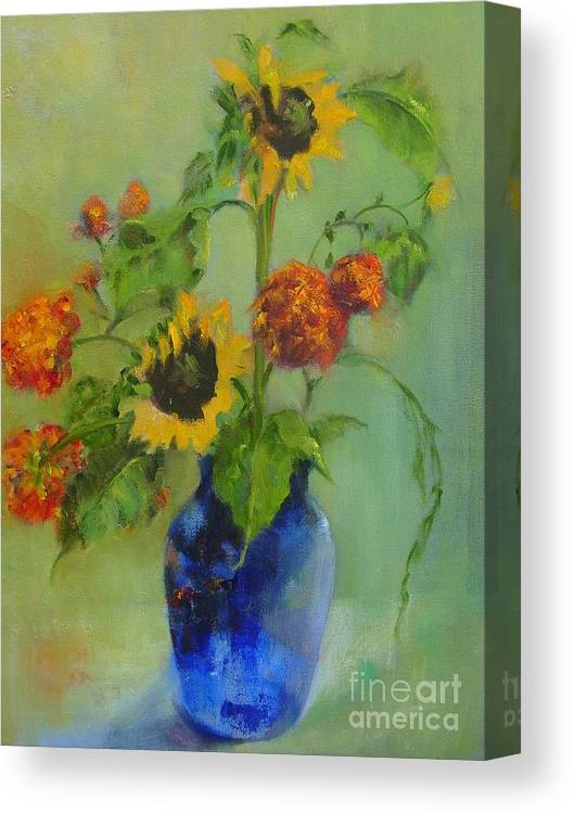 Contemporary Floral Canvas Print featuring the painting Sunflowers in Blue     copyrighted by Kathleen Hoekstra