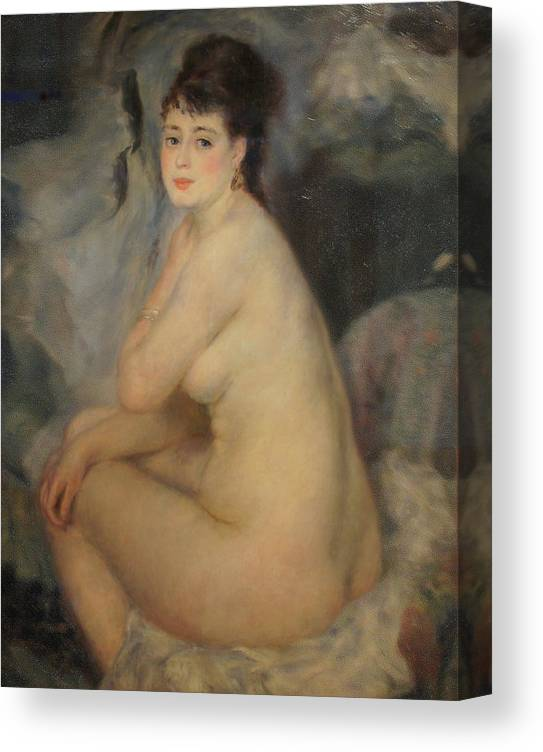 Nude Canvas Print featuring the painting The Beautiful Anna by Pierre Auguste Renoir