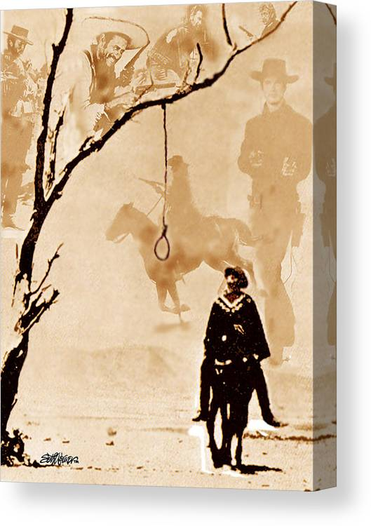 Clint Eastwood Canvas Print featuring the digital art The Hangman's Tree by Seth Weaver