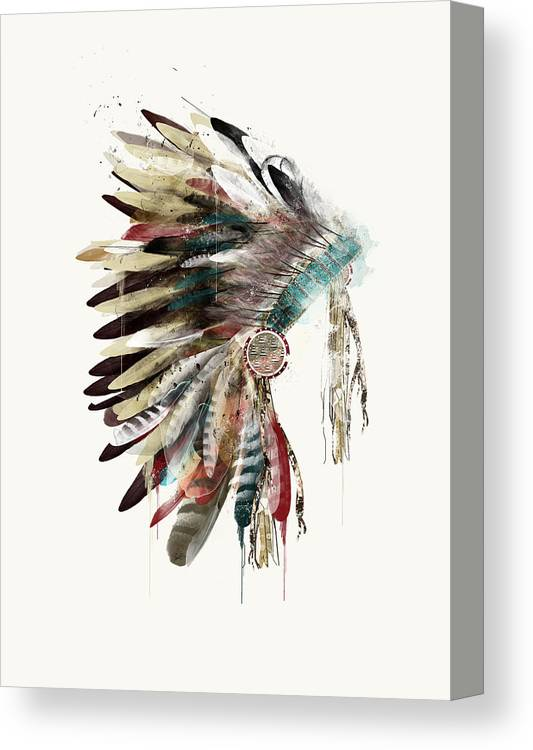 Headdress Canvas Print featuring the painting The Headdress by Bri Buckley