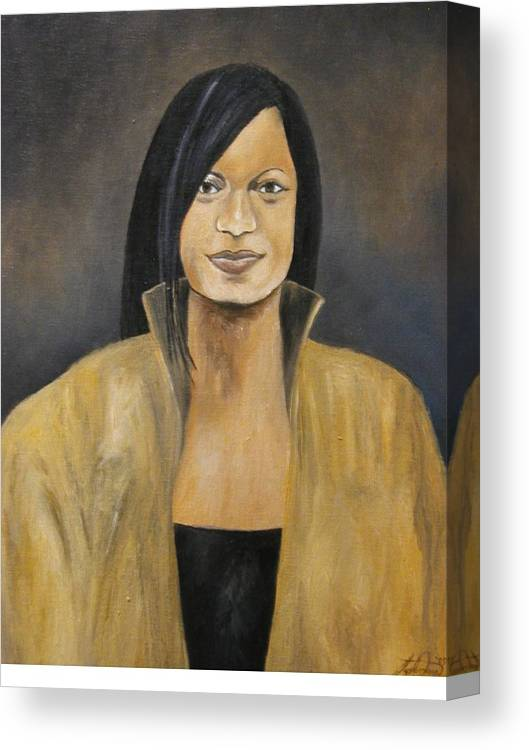 Portrait Canvas Print featuring the painting The Lady in Gold by Angelo Thomas