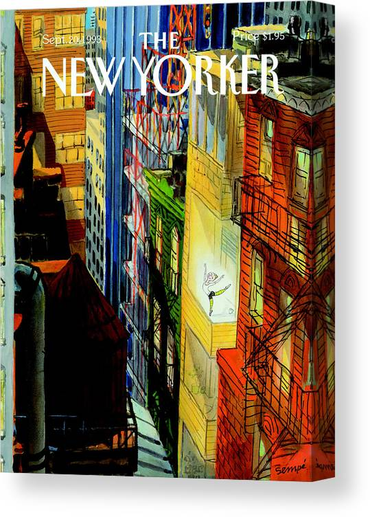 City Canvas Print featuring the painting New Yorker September 20th, 1993 by Jean-Jacques Sempe