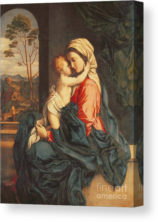The Canvas Print featuring the painting The Virgin and Child Embracing by Giovanni Battista Salvi