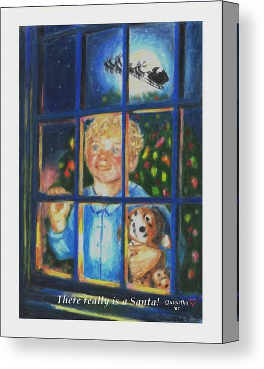 Santa Canvas Print featuring the drawing There Really is a Santa by Quwatha Valentine