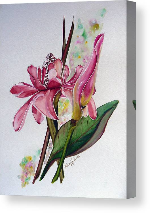 Flower Painting Floral Painting Botanical Painting Flowering Ginger. Canvas Print featuring the painting Torch Ginger Lily by Karin Dawn Kelshall- Best