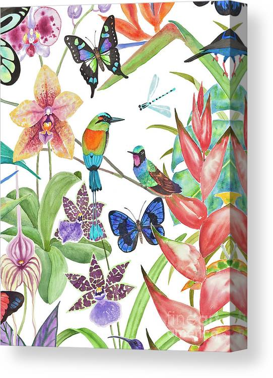 Tropical Birds Canvas Print featuring the painting Tropical Paradise Dragonfly by Lucy Arnold
