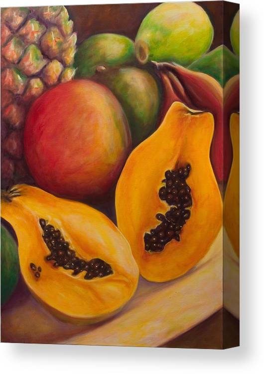 Papaya Canvas Print featuring the painting Twins by Shannon Grissom