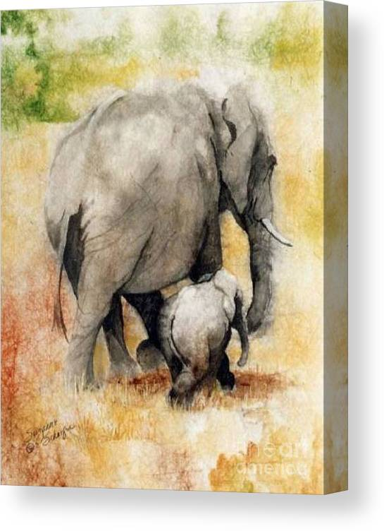 Elephants Canvas Print featuring the painting Vanishing Thunder Series - Mama and Baby Elephant by Suzanne Schaefer