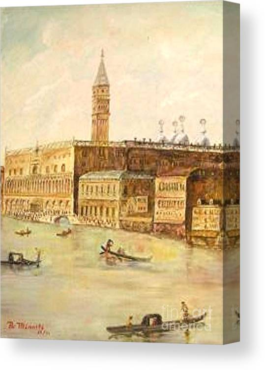 Citiscape Canvas Print featuring the painting Venice From Grand Canal by Nicholas Minniti