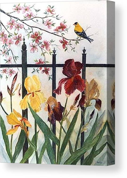 Irises; American Goldfinch; Dogwood Tree Canvas Print featuring the painting Victorian Garden by Ben Kiger