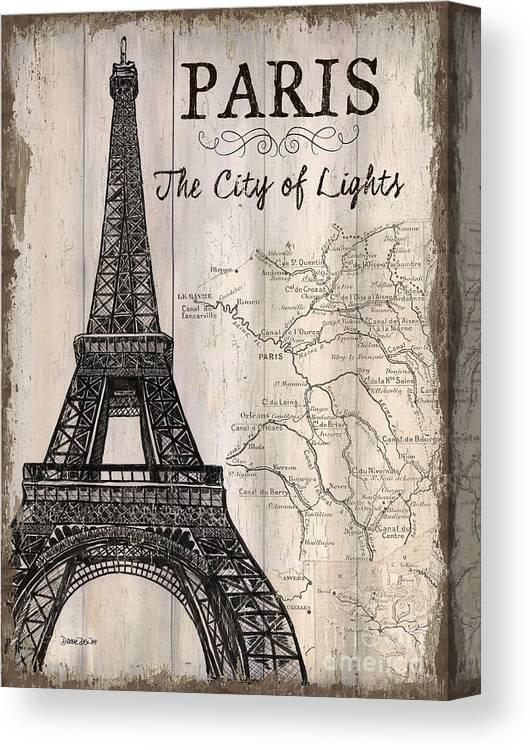 Paris Canvas Print featuring the painting Vintage Travel Poster Paris by Debbie DeWitt