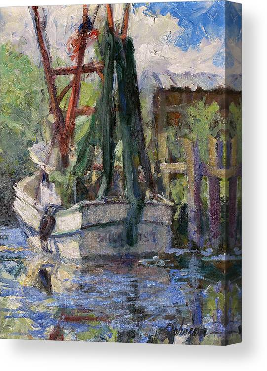 Shrimp Boat Canvas Print featuring the painting Waiting to Serve by L Diane Johnson