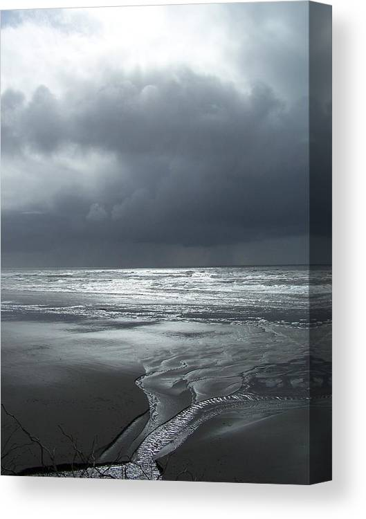 Seascape/ Beach/sunset Canvas Print featuring the photograph Washington Shore by Gene Ritchhart