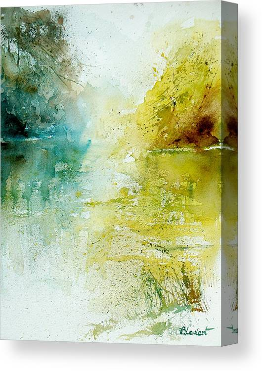 Pond Nature Landscape Canvas Print featuring the painting Watercolor 24465 by Pol Ledent