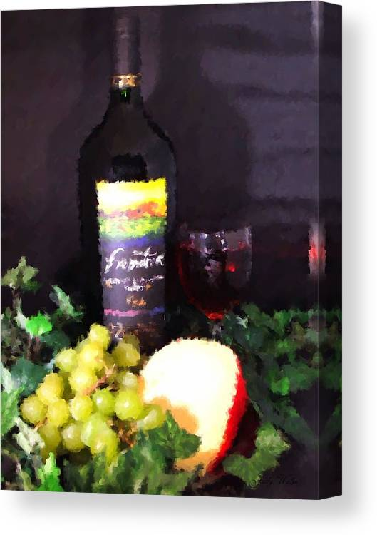 Wine Canvas Print featuring the photograph Wine and Cheese by Judy Waller