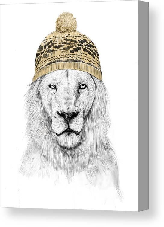 Lion Canvas Print featuring the mixed media Winter is coming by Balazs Solti
