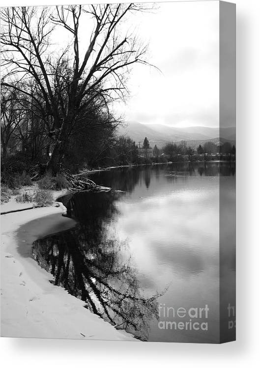 Black And White Canvas Print featuring the photograph Winter Tree Reflection - Black and White by Carol Groenen