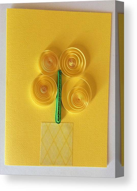 Quilling Canvas Print featuring the mixed media Yellow Flowers In Vase Handmade Quilling Greeting Card by Gay Dallek