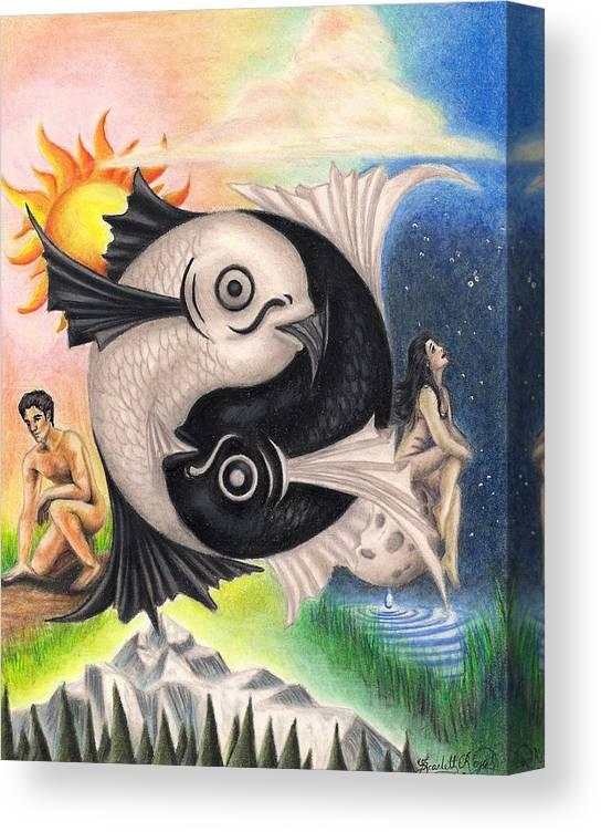 Yin-yang Canvas Print featuring the drawing Yin-Yang by Scarlett Royal