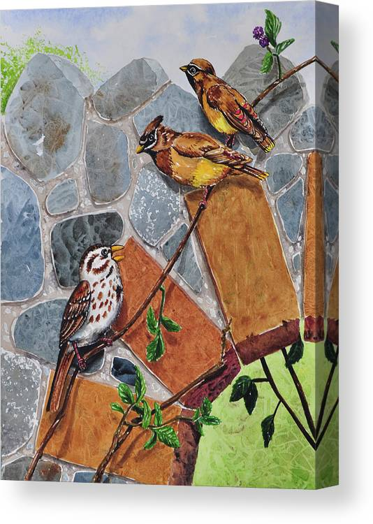005 Song Sparrow And Cedar Waxwings Canvas Print featuring the painting 005 Song Sparrow And Cedar Waxwings by Charlsie Kelly